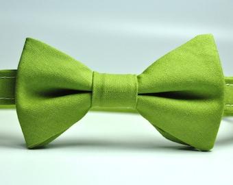 Little Boy's Pear Green Cotton Bow Tie