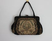 antique tapestry embroidered woven handbag / brass kiss lock