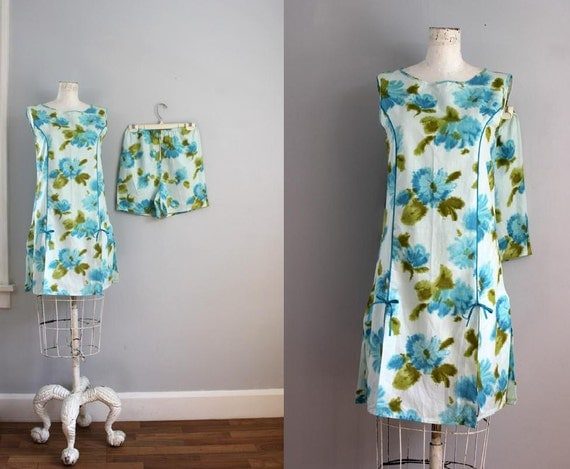 1960s TENNIS watercolor floral romper playsuit dress set -SM