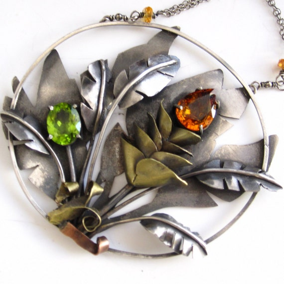 The Jungle Tropics Necklace - Sterling Silver, Peridot and Sapphire