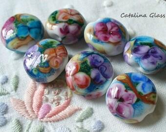 Lampwork Glass Beads handmade by Catalina Glass  7 Garden Watercolors pink blue purple sra