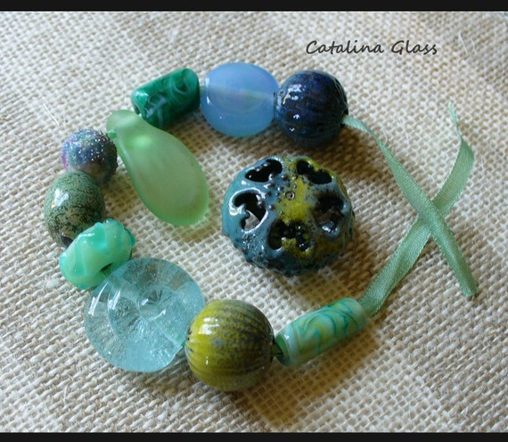 Bead Salad Eclectic Mix of Lampwork and Metal by Catalina Glass SRA  Blue Green