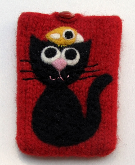 Felted red wool pouch cellphone cozy needle felted black cat and little yellow birdie