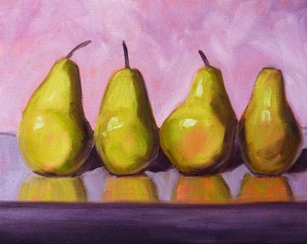 Pears Still Life Oil Painting, Original Kitchen Art, Wall Decor, 9x12 on Stretched Canvas, Yellow, Green Fruit, Purple, Pink