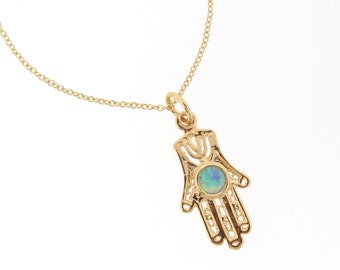 Hamsa Hand Necklace With Opal -  14k Gold Filled Hamsa Hand Necklace Or Bracelet