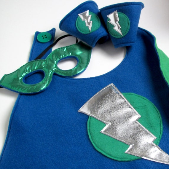 Super Hero Cape Set - Blue and Green (WOW071712-1)