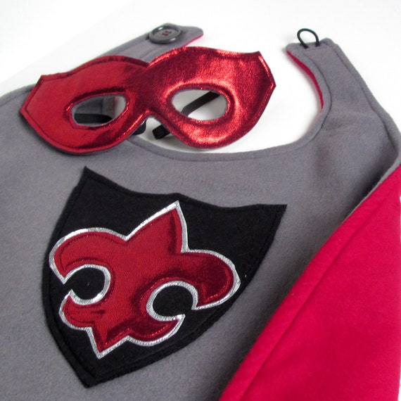 Super Hero Cape and Mask - Red and Grey (WOW112612-1)