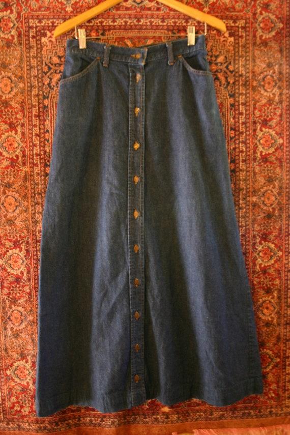 MAKE OFFER Rare Big E 70's 80's Vintage Levis dark blue Jean Maxi A Line High Waisted Skirt orange tab