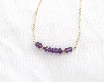 Amethyst Necklace, 14K Gold Fill Chain, Bead Row Necklace, Wife Gift