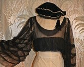 20s Flutter Sleeved Upcycled Midriff Top amazing sheer bell sleeves
