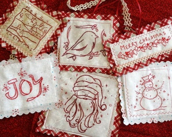 Christmas Redwork Ornament Set Hand Embroidery PDF Pattern Instant Download