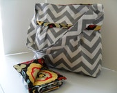 Large Diaper Bag Set Made of Chevron and Alexander Henry Brown Floral Fabric - Adjustable Strap