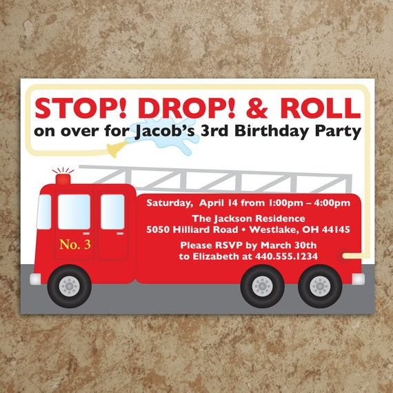 Fire Truck Invitation - Printable PDF - Fireman Invitation - Firefighter Invite - Boy Birthday Invitation - Firetruck Birthday Invitation