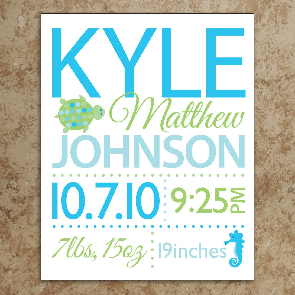 Items Similar To Birth Announcement Wall Art DIY Printable File Turtle An