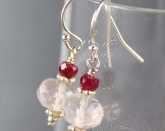 Rose Quartz, Ruby and Sterling Silver Gemstone Earrings