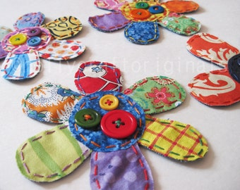 Flower Appliques, Scrapbook Flowers, Flower Embellishments, Fabric Flower Patch - set of 4 YOUR Choice/Made to Order