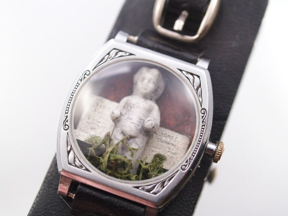 Frozen Charlotte Bracelet Gothic Haunted Cemetary  Miniature Shadowbox Diorama Watch