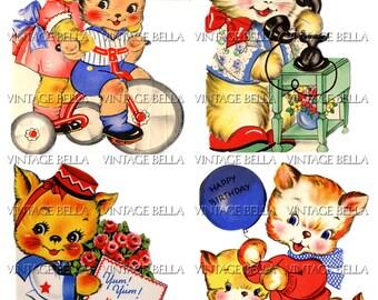 Vintage 1940s Cat Birthday Greeting Card Digital Download 222 - by Vintage Bella