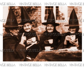 Vintage Halloween Witch Tea Party - 4 Friends - Digital Download 290 - by Vintage Bella