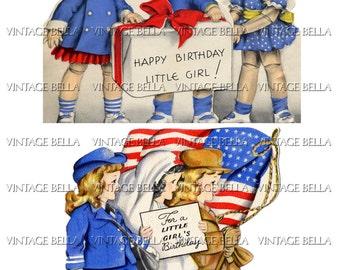 Vintage 1930s 1940s Little Girl Patriotic Birthday Greeting Card Digital Download 243 - by Vintage Bella