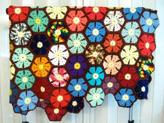RESERVED FOR JULIE Colorful Afghan flower pattern, crochet blanket, multicolor flowers