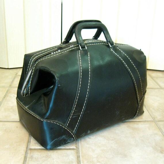 SALE Vintage vinyl Dr Bag luggage bag, black weekender carry on, doctor bag
