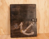 Leather iPad Case - Dock pattern with anchor and stars - Blue, White and Antique Black