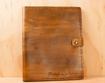 Leather iPad Case - Personalized Script Pattern in Antique Brown