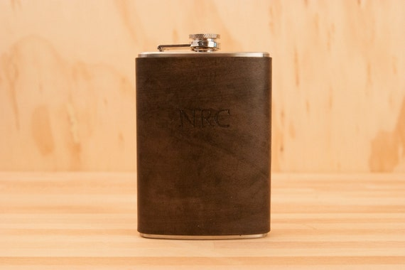 Monogram Flask  - Leather and Stainless Steel in antique black