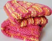 Set of 2 hand knitted dish or wash cloths. Happy and Bright