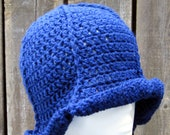 Crochet Hat - Sapphire Blue Wool - Poppy  - Adult Medium - Ready to Ship
