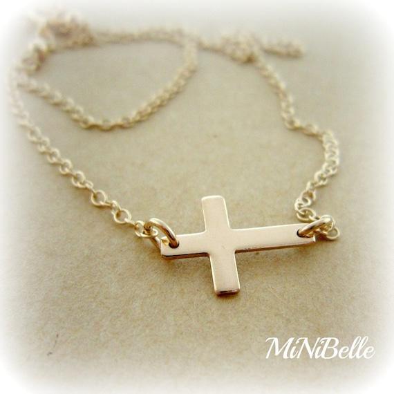 Sideways Cross Necklace. Gold Sideways Cross Necklace. Petite Sideways Cross Necklace