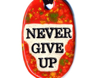 Never Give Up Ceramic Necklace in Spotted Red