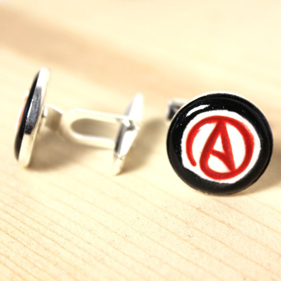 Sterling Silver Plated Ceramic Inlaid Scarlet Letter Cufflinks in Black