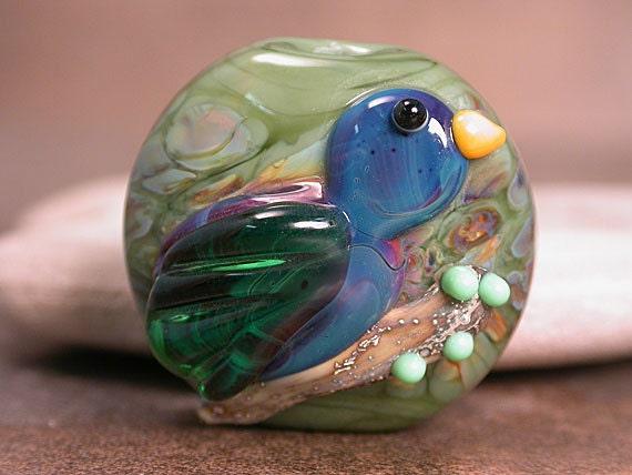 Lampwork Focal Bird Bead Bluebird on a Branch Divine Spark Designs SRA LEteam