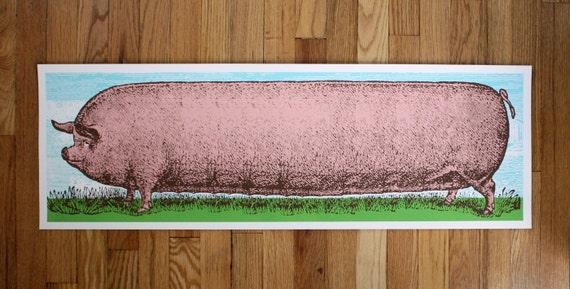 Big Pig- 12x36- Hand Printed Art Print
