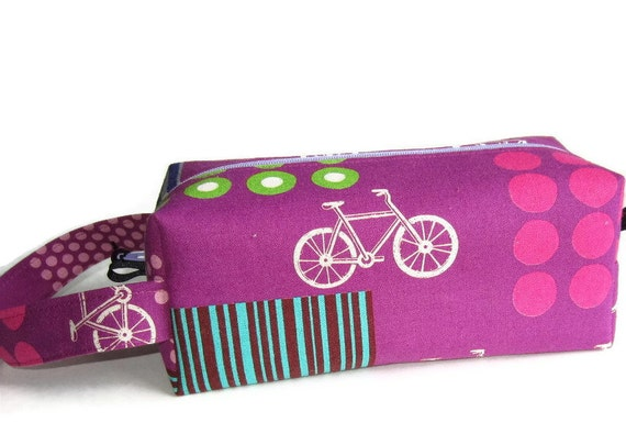 Boxy Bag Knitting Project Bag - Bicycle on purple