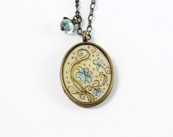 Swirling Forget-me-not Flower Hand Painted Necklace