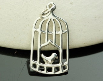 1 pc - Sterling Silver Whimsical Bird Cage Charm  24x12mm