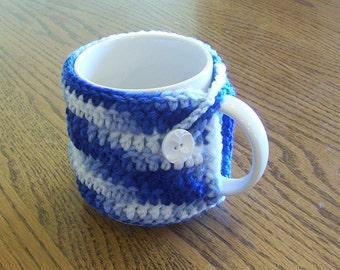 Hand Crochet Varigated Blue Coffee Mug Cozy
