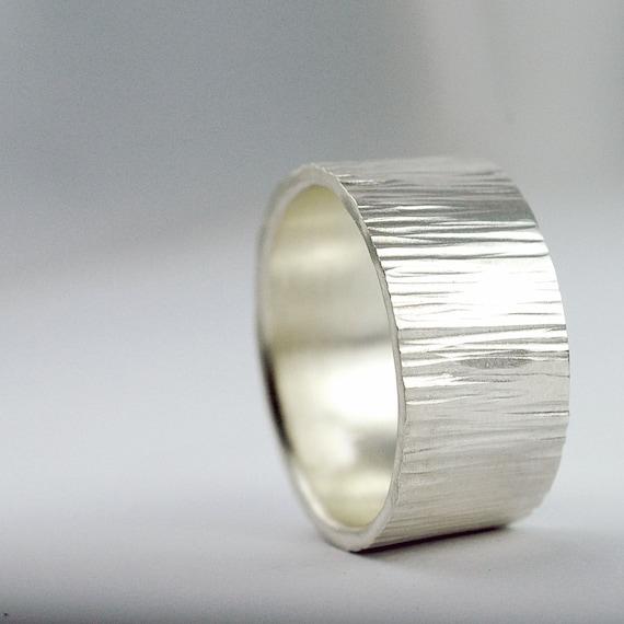 Silver Ring - WIDE Band -Tree Bark Woodland Texture Ring - Wedding Band - Wedding Ring - EcoFriendly Sterling Silver - Mens Ring