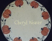 9 and 1 Quarter Inch Round Handpainted Pumpkin Canvas Candle Mat OFG Team