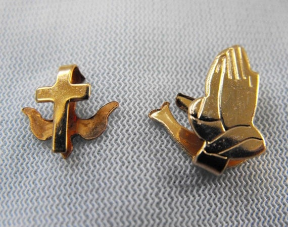Vintage Book Marks, Pair, Bible Markers, Dove, Praying Hands, Cross, ca 1960s, RO-6