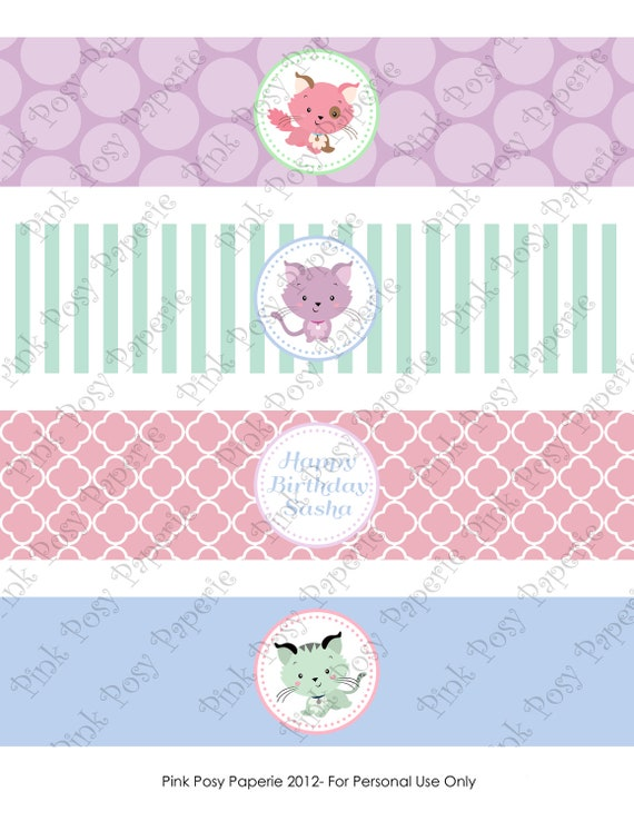 Printable Kitty Birthday Water Bottle Wrappers