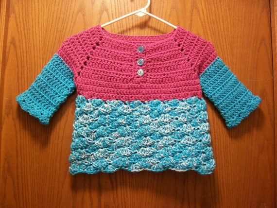 PDF Girl's Top-Down Raglan Henley, Crochet Pattern from