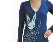 Japanese inspired kawaii Navy kimono bunny  V neck long sleeve T shirts
