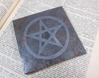 PENTACLE ALTAR TILE - 4x4 Art Tile, Carved Slate Stone Altar Pentacle, Pagan Altar, Wiccan Altar, Pagan Art, Wiccan Art Decor, Alter Tile