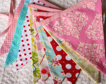 Valentine's Day, Birthday, Wedding Bunting, Shabby Chic Theme Fabric Flag Banner.  Designer's Choice, Featuring Yellow, Aqua, Red, Pink...