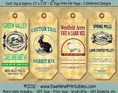 Printable Hang Tags - Sheep Rabbit Feedsack - U-Print PDF File