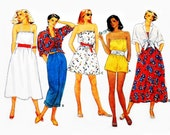 Blouson Bodice Dress or Romper 1980s Pattern. Bare Shoulder. Front Waist Tie Cover up Shirt. Fun Beach Resort Separates. Butterick 3250.